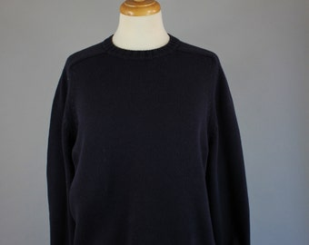 Vintage 90s Women's Lands End Dark Navy Blue Cotton Pullover Fall Spring Sweater