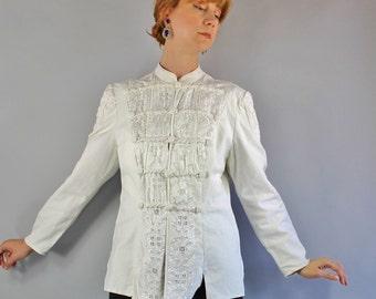 Women's Cotton Rare Jacket, Spring, Summer, Unique, Folk, Military, Edwardian, Band Collar, Street Style, Suffragette, Large