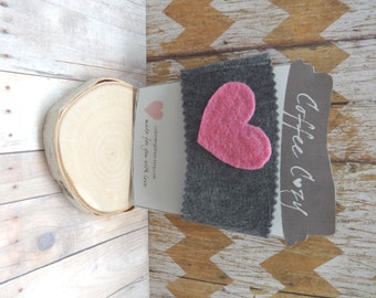 Felt Cup Sleeve - Gray with Pink Heart - Drink Sleeve - Coffee Cozy