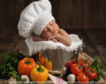 Baby Chef Hat - Crochet Baby Hat - Crochet Chef -  Baby Photo Prop - New Baby Gift - Gift for Cooks - Newborn Photo Prop - Baby Shower Gift