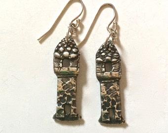 silver castle earrings, eco friendly earrings, Macbeth earrings, Tour de France, made in america, fairy tale, house, harry potter