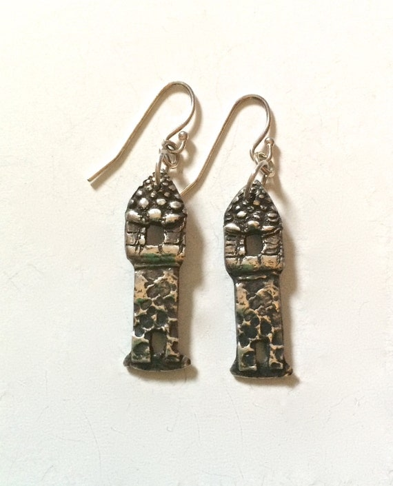 silver castle earrings, eco friendly earrings, Macbeth earrings, rapunzel, made in america, fairy tale, house, harry potter
