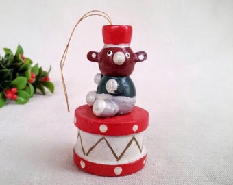 Vintage Christmas Ornament, Funny Bear with a Drum Hand Painted Wood Miniature Figurine Ornament, Vintage Christmas Holiday Decoration