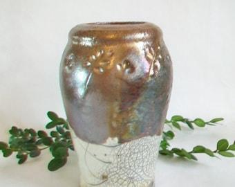 Vase, Raku Vase, Raku - Fired,  Crackle and Copper Vase , OOAK, Ready to Ship