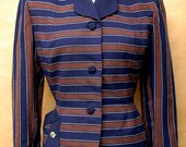 1940s 1950s Pinup/Rockabilly Navy and Navy Blue Striped Wool Blazer