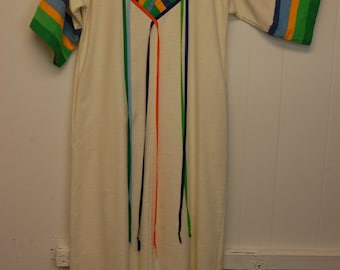 1970s Hippie Tunic Boho Summer Dress with Pockets