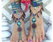FAIRY Dream BAREFOOT sandals Purple Teal Boho Gypsy Sandal Garden Wedding Woodland sandals Nature jewelry foot jewelry womens fashion GPyoga