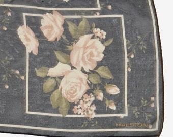 Vintage 80s Floral Rose HALSTON Sheer Silk Square Scarf
