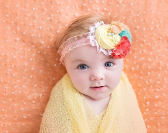 May Flowers- aqua, yellow and coral peach rosette and chiffon flower headband