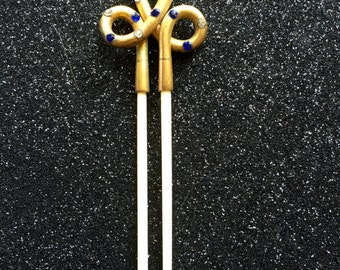Georgian Bone Hair Comb Pin with Pinchbeck and Paste