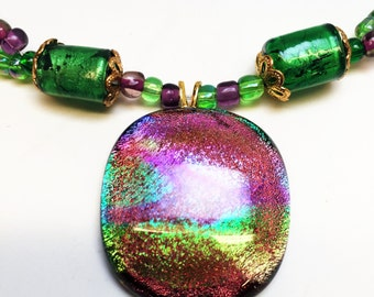 Green and Purple Dichroic Fused Glass Pendant with beaded necklace