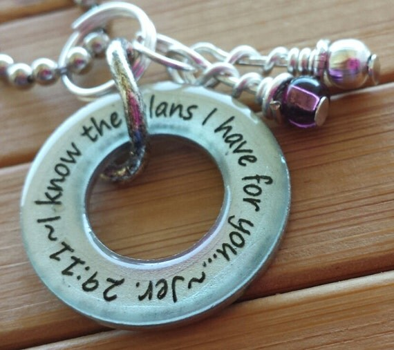 Jeremiah 29:11 I know the plans I have for you... 13/16 in. silver washer word quote jer 29 11 scripture necklace  pendant with chain