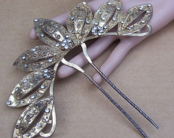 Rhinestone Hair Comb Indonesia Bali hair pin hair pick hair accessory hair jewelry hair ornament headdress decorative comb AS FOUND (ABK)