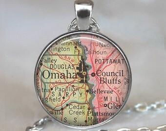Omaha map necklace, Omaha pendant Council Bluffs map pendant map jewelry Omaha necklace Council Bluffs pendant key chain