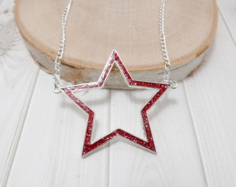 Red Star Necklace - 4th of July - Star Necklace