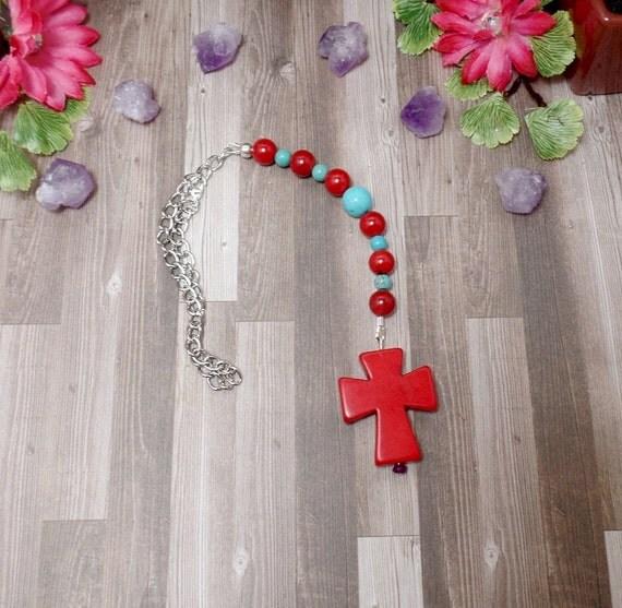 Red Cross Rear View Mirror Charm - Cross Car Charm - Red Car Charm - Car Accessories - Car Ornament - Free US Shipping