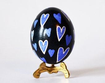 purple hearts, Ukrainian Easter eggs, pysanky eggs