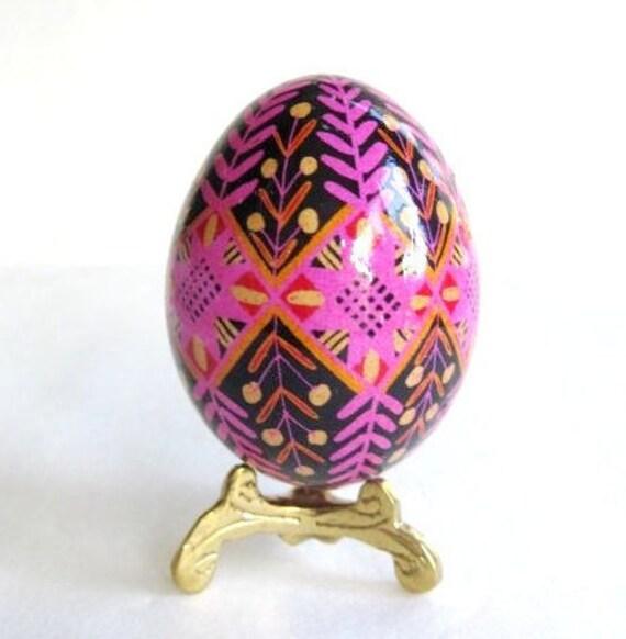 Pink Flower on Black Pysanka, egg shell hand painted batik, Ukrainian Easter egg