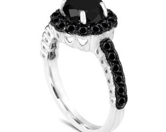Platinum 1.75 Carat Black Diamond Engagement Ring Certified Halo Pave Unique Handmade