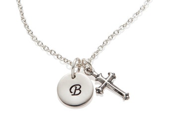 Boy Baptism Gift Cross Initial Necklace, Small Cross Charm for Boys, Baptism Necklace for Boys