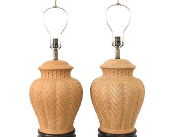Pair Italian Terracotta Lamps by Frederick Cooper Hollywood Regency Pottery Ginger Jar