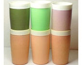 1950s Bolero Therm-O-Ware Tumblers set of 6, Tall Multi Colored Tumbler Drinking Cups, One Royal Satin, Drinkware, Thermo Ware, Thermoware