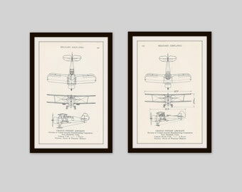 Any 2 Airplane Prints, Set of 2, Vintage Airplane Print, Airplane Diagram, Aviation Print, Boys Bedroom, Baby Boy Nursery, Pilot, Military