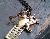 My Spirit Animal - custom stamped tag, metalwork star, unicorn charm, sealed link chain necklace