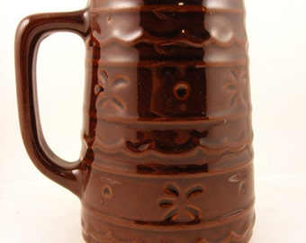 Large Brown Beer or Coffee Mug Marcrest Daisy & Dot Pattern Mid Century Tankard Stein