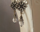 Lady Cora Crystal Earrings - Downton Abbey Jewelry - Edwardian Earrings - Vintage Style - Wedding Earrings - Tudor Jewelry - Womens Jewelry