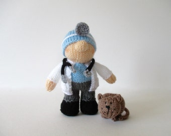 Victor the Vet doll knitting pattern