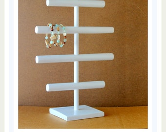 Jewelry Organizer, Glossy White Large Bracelet Holder, Watch Storage, Big Craft Show Display, Head Band Tree, Retail Rack Fixture, Hair Bow