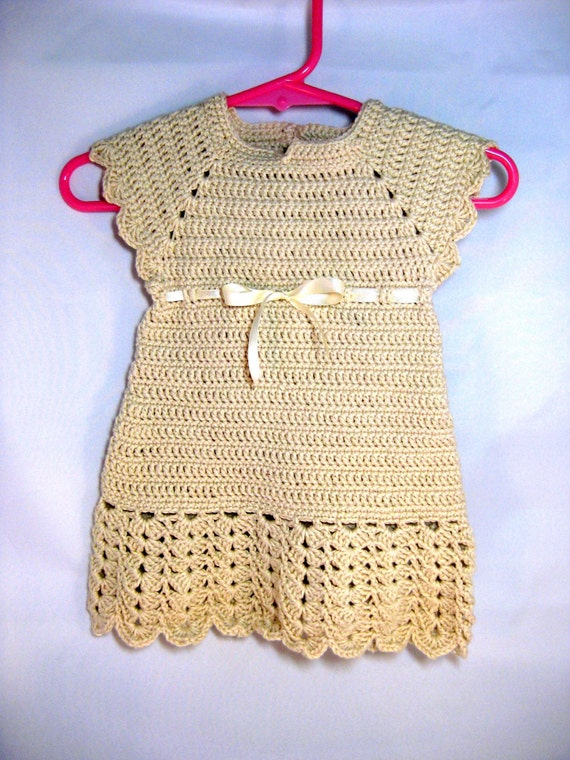 READY TO SHIP Crochet Baby Dress - crochet baby gown infant baptism dedication consecration baby girl cotton baby dress Cream 3-6 mo