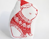 Limited Edition Polar Bear Pillow. Hand Woodblock Printed. Holiday decor. READY TO SHIP.