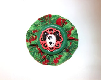Black and White Dog Red and Green Christmas Yo Yo Button Brooch