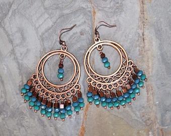 Blue Crystal Earrings, Copper Bohemian Earrings, Chandelier Earrings, Brown and Blue Earrings, Gypsy Earrings, Handmade Earrings