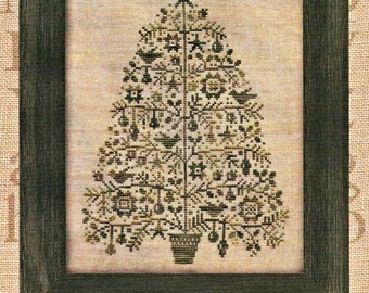 Counted Cross Stitch Pattern, Oh Christmas Tree, Primitive Decor, Christmas Decor, All Through the Night, Bonnie Sullivan, PATTERN ONLY