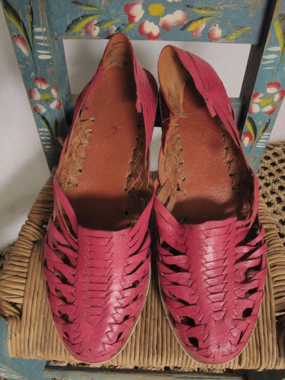 Pink Huaraches Vintage Mexican Sandals Pink Leather 70s 80s