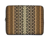 Tribal laptop case, laptop sleeve, laptop cover, computer sleeve, netbook case, to fit 15.6, 10, 13, 15, 17 inch, coworker gift, brown