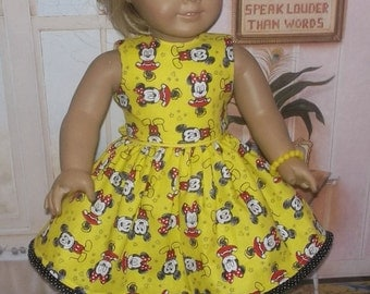 """Mickey Mouse Dress, shoes and accessories fits 18"""" American Girl doll"""