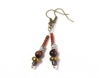 Gemstone Dangle Earrings, Brown Earrings, Red Tiger Eye, Mixed Metals, 1.5 Inches Long, Bohemian Statement Earrings, Silver and Bronze Beads