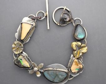 Boulder Opal Bracelet with Golden Flowers and Labradorite