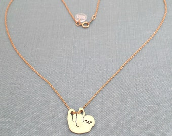 Hanging Sloth Necklace, Brass Pendant Silhouette Charm, 14kt gold filled chain Animal lover