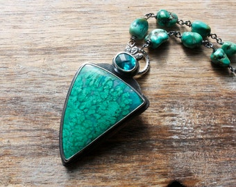 Malachite Chrysocolla, Topaz, Turquoise Sterling Silver Pendant Necklace... Menthe Plume...