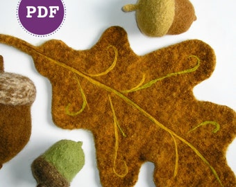 PDF-PATTERN. A Knit & Felt Wool Acorn and Oak Leaf Downloadable PDF Pattern