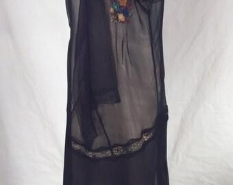 Teagarden Dress Vintage 1920 Frock Sheer Chiffon w/ Embroidery