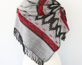 Reversible native scarf Boho chic shawl Tribal blanket scarf Aztec winter scarf Winter wrap Grey and black large hippie scarf Geometric
