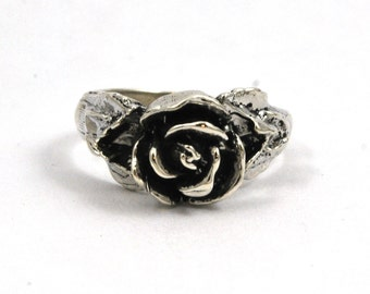 Rose Antiqued Sterling Silver Flower Ring