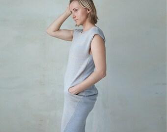 Knit dress pocket dress with drape back - light blue ivory marl V neck sleeveless midi dress