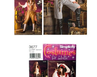 Simplicity 3677, Adult Costume Pattern, Misses Costume Pattern, Misses Pirate Costume, Adult Pirate Costume, Halloween Costume Pattern